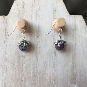 Handmade Purple Dew Drop Earrings